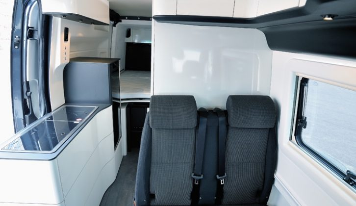 The two travel seats in the dinette of the James Cook campervan have Isofix fixings for child seats