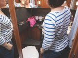 You'll find well-lit mirrors all around you in the smart washroom, with three useful shelves above the handbasin
