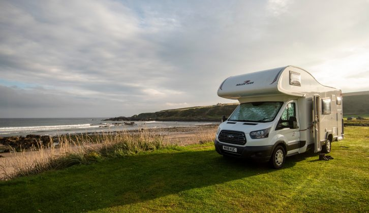 The pitches at Portsoy Links Campsite have stunning sea views