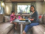 Family mealtimes are a particular pleasure on tour. Harrison and Kim enjoy dinner in the motorhome