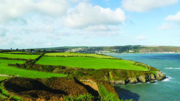 Spectacular view towards Fishguard from Pembrokeshire Coast Path