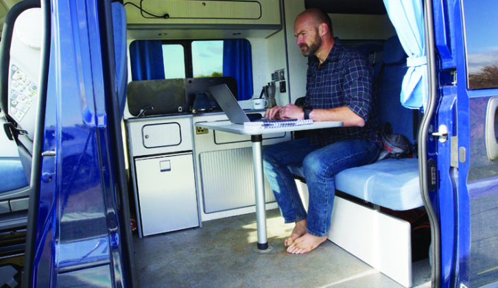 Parked on the drive , Monty's new camper was put to good use despite the lockdowns, making a great office space and basecamp