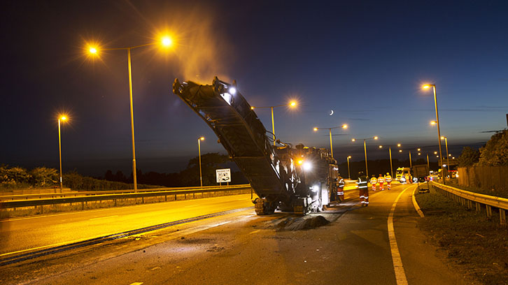 Road works being conducted at night