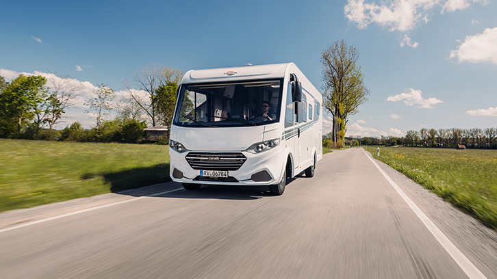 Carado I449 driving down the road, shortlisted for best A-class motorhome